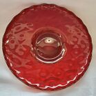 Ruby Red glass cake serving Plate Platter pedestal tray