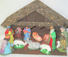 Antique VIntage Lighted NATIVITY MANGER Christmas Germany Set Lot