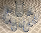 Libbey Azure Misty Ice Blue Swirl Pitcher  Tumblers Drink Set With 6 EXTRAS