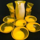 Art Glass MCM Yellow  White Pitcher Beverage Snack 11 Piece Set Applied Handle