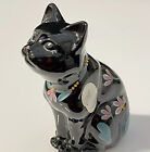Fenton Glass Black Cat Hand Painted Flowers Figurine Signed