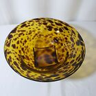 Spotted Blown Glass Bowl Amber Citrine Tortoise Shell 10 1 2 X 4 3 4