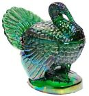 Turkey Jam Jar Covered Dish Hunter Green Carnival Glass Mosser USA