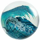 Glass Eye Studio Cresting Wave Hand Blown Paperweight Teal Blue Crystal Orb 3