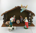 Vintage Woolworth Christmas Nativity Manger Set 10 Figurines Stable Japan