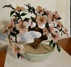 Vintage Asian Oriental Glass Jade Bonsai Tree Flowers Buds pink with green leaf