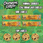 Animal Cookies Glass Jar Lid and Side Label Sticker 2 oz 60 mil FREE SHIP
