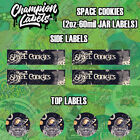 Space Cookies Glass Jar Lid and Side Label Sticker 2 oz 60 mil FREE SHIP