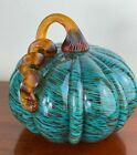 Murano Style Blown Art Glass Pumpkin Teal Swirl It Lights Up