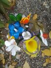 Vintage Hand Blown Art Glass 115 Long Stem Flowers Lot Of 9