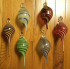 NEW Lot of 6 HAND BLOWN GLASS CHRISTMAS ORNAMENTS Artist Signed  Dated JP 07 08