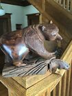 Unique Hand Carved Ironwood Grizzly Bear With Fish Figurine Wood Carving