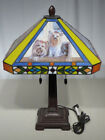 RARE SIGNED DANBURY MINT 21 YORKIE Tiffany Style Stained Glass Table Lamp