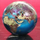 Lundberg Studios WORLD ART GLASS EARTH GLOBE Marble Paper Weight Signed
