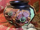 MCCourt Studio Black Glass Vase W Red Orange Coralene Poppy Flowers 5 1 2