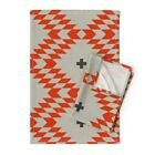 Triangle Plus Native Natural Orange Linen Cotton Tea Towels by Roostery Set of 2