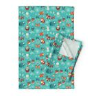 Winter Woodland Owls Bears Nativity Linen Cotton Tea Towels by Roostery Set of 2