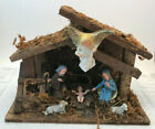 VTG Manger Nativity Scene Made In Italy with Plastic Figures Rustic