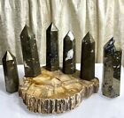 Wholesale Lot 2 Lbs Natural Pyrite Obelisk Tower Point Crystal Energy