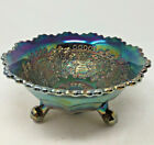 Fenton Leaf Chain Electric Cobolt Blue Carnival Glass 3 Footed Bowl Marked Rare
