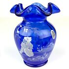Fenton Glass Vase Girl 3249 UF Mary Gregory 2002 Cobalt Blue 52 hand painted