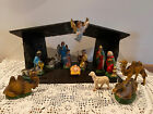 VINTAGE NATIVITY SET CHRISTMAS MANGER SCENE 14 PIECES PLASTER FIGURINES ITALY