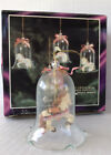 Vintage Glass Bell Ornaments With Carousel Horses Hand Painted Porcelain Bisque