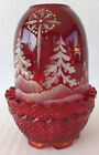 Fenton Red Glass Fairy Light Lamp Hand Painted Christmas Trees Votive Holder