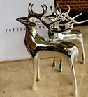 SET OF 2 POTTERY BARN REINDEER SILVER PLATED 7in TALL CANDLESTICK HOLDERS MINT