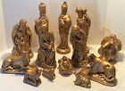 LARGE 13pc Gold Painted Ceramic NATIVITY SET Holy Family Wisemen Animals MORE