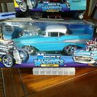 MUSCLE MACHINES TURQUOISE  WHITE 57 CHEVY BEL AIR 1 18 BMM005