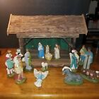 Vintage 19 Piece Christmas Nativity Set Manger
