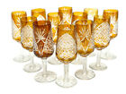 12 Bohemian Amber Glass Cut to Clear Cordial Wine Goblets