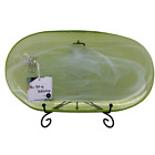 Handcrafted Green Recycled Art Glass Oval Serving Platter