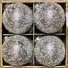 Queenwest LARGE White Gold Pearl Glittery Sequins Glass Christmas Ornaments Set4