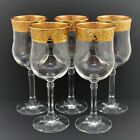 CRYSTAL GLASS CLEAR GOLD ENCRUSTED WINE GOBLETS SET OF 5