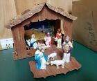 Vintage 1950s Fold Out Cardboard Creche Manger Nativity Set 9 Pieces Plastic BOX