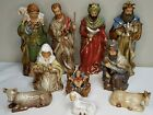 Vintage Handcrafted Nativity Christmas 10 Piece Painted Porcelain Gift Set