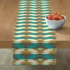 Table Runner Native Turquoise Brown Cream Cotton Sateen