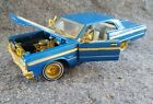 1964 Chevrolet Chevy Impala SS 8708 blue  GOLD lowrider 1 24 Diecast NO BOX