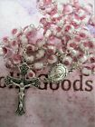 8 mm White with Pink Roses Lampwork Glass Beads Rosary