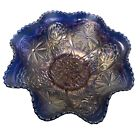 Fenton Water Lily Blue Footed Carnival Glass Bowl 9 1 2 Ruffled Saw Tooth Edge