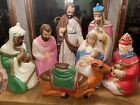 Vintage 7 Piece Set Empire Tpi Blow Mold Nativity Set Lighted Christmas Plastic