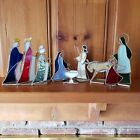 Vintage Handcrafted 9 Piece Stained Glass Nativity Set Leaded Self Standing