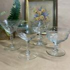 Champage Coupes MCM Etched Design Antique Cut Crystal Glass Set of 4 Vntg