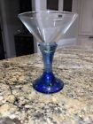 Fire and Light Recycled Blue Green Martini Glass SIGNED