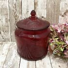 Vintage Amberina Ruby Red Royal Lace Depression Glass Large Cookie Jar With Lid