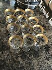 6x GOLD RIM TIFFIN MINTON STEMWARE Shot Cocktail Glass Small SET OF 6 1950s