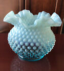 VINTAGE FENTON Lovely Blue  White Hobnail Unmarked VASE RUFFLED OPALESCENT
