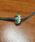 Authentic Trollbeads Unique OOAK Swimming Green Fish Bubbles New